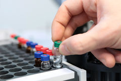 People hand holding a test tube vial sets for analysis in the gas liquid chromatograph. Laboratory assistant inserting laboratory. Scientist holds a chemical stock photography