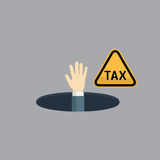 People Hand On TAX Hole illustration. People Hand on The Hole and TAX sign Royalty Free Stock Photo