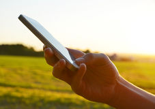People hand using smart phone. In the sunset stock photo
