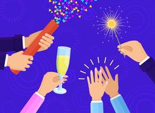 People Hands with Champagne Glass and Sparkler. People hands with champagne glass, big slapstick full of confetti and bright sparkler isolated cartoon flat Stock Photography