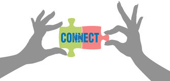 Hands find Connection puzzle solution. People hands connect pieces of jigsaw puzzle solution to form connection Royalty Free Stock Photo
