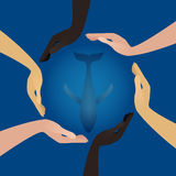 People hands of different nationalities protect whale Royalty Free Stock Photos