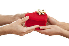 People hands give gift in box Stock Photo
