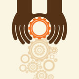 People hands hold gears. Business start up concept. Royalty Free Stock Image