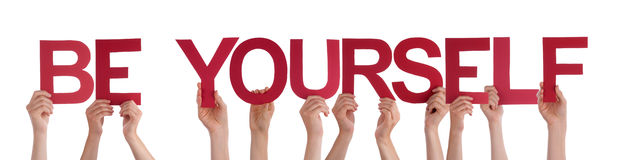 People Hands Hold Red Straight Word Be Yourself Royalty Free Stock Photography