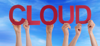 People Hands Hold Red Straight Word Cloud Blue Sky Stock Photo