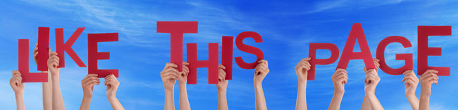 People Hands Hold Red Word Like This Page Blue Sky Royalty Free Stock Photos