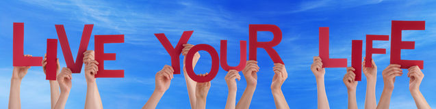 People Hands Hold Red Word Live Your Life Blue Sky Royalty Free Stock Images