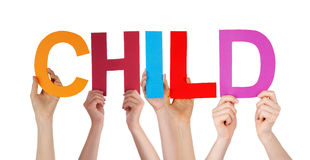 People Hands Holding Colorful Straight Word Child Royalty Free Stock Images