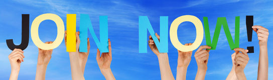 People Hands Holding Colorful Straight Word Join Now Blue Sky. Many Caucasian People And Hands Holding Colorful Straight Letters Or Characters Building The Royalty Free Stock Photo