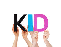 People Hands Holding Colorful Straight Word Kid Stock Photo