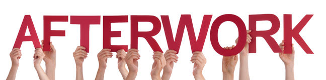 People Hands Holding Red Straight Word Afterwork Stock Image