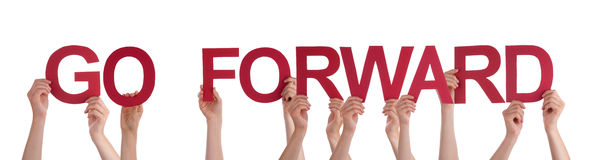 People Hands Holding Red Straight Word Go Forward Stock Photos
