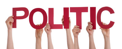 People Hands Holding Red Straight Word Politic Stock Photos