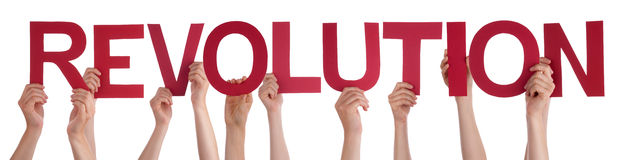 People Hands Holding Red Straight Word Revolution Stock Photos