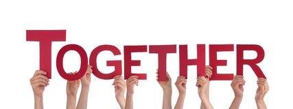 People Hands Holding Red Straight Word Together Stock Photo