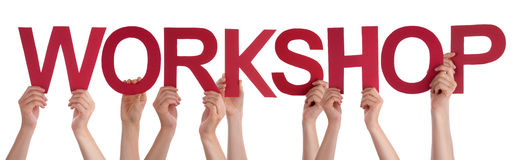 People Hands Holding Red Straight Word Workshop Stock Photography