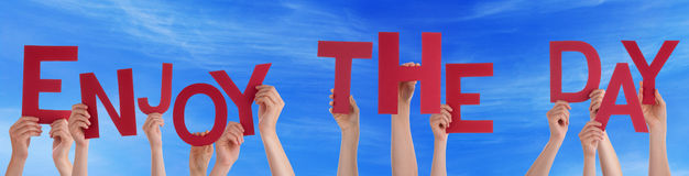 People Hands Holding Red Word Enjoy The Day Blue Sky Royalty Free Stock Images