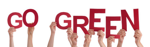 People Hands Holding Red Word Go Green Stock Photo