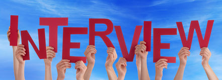 People Hands Holding Red Word Interview Blue Sky Royalty Free Stock Images