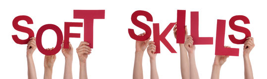 People Hands Holding Red Word Soft Skills Royalty Free Stock Image