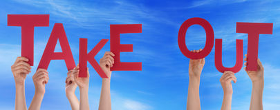 People Hands Holding Red Word Take Out Blue Sky Royalty Free Stock Photos