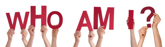 People Hands Holding Red Word Who Am I. Many Caucasian People And Hands Holding Red Letters Or Characters Building The Isolated English Word Who Am I On White royalty free stock images
