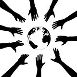 People hands reach for earth Stock Image