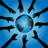 People hands reach for earth. People & Earth: A circle of human hand silhouettes reach out toward the earth, globe vector illustration