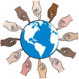 People hands reach for globe Stock Image
