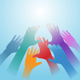 People hands reach out bright light copy space. People hands of many colors reach out toward bright light copy space royalty free illustration