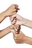 People hands showing cooperation Stock Images