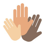People hands showing greeting wrist direction symbol finger human thumb concept vector. Touch, communication gesture help donate fundraiser trust social royalty free illustration