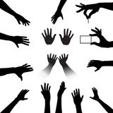 People Hands Silhouettes Set Stock Photos