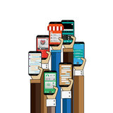 People hands with smartphone using apps to buy online stock illustration