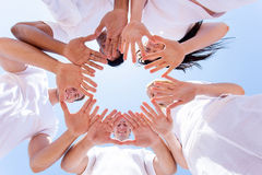 People hands together stock image