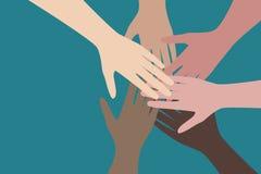 People hands together, work in team concept. Vector illustration. stock illustration