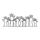 People hands up together icon Stock Image