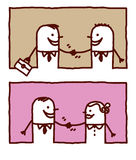 People handshakes. Vector hand drawn cartoon characters Stock Photography