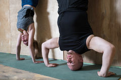 People Handstand push-up workout at gym, pushups updide down near the wall. stock photo