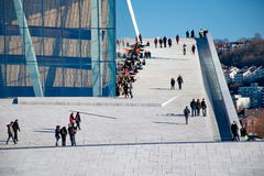 People hanging around in Opera house in Oslo Royalty Free Stock Images