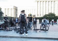 People hanging about, bikers gang hangout. Young boys hanging out at a skate place. Russia. Saint-Petersburg. Summer 2017 Stock Photo