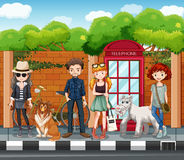 People hanging out on the road stock illustration
