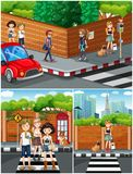 People hanging out on the street vector illustration