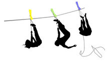 People hanging on a rope Royalty Free Stock Image