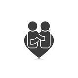People happiness symbol in shape heart men and women love Stock Photo