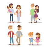 People happy couple cartoon relationship characters lifestyle vector illustration relaxed friends. Stock Photos