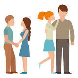 People happy couple cartoon relationship characters lifestyle vector illustration relaxed friends. People happy couple cartoon and relationship characters Stock Photography