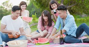 People happy at a picnic royalty free stock images