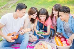 People happy at a picnic stock photography